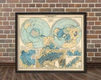 Polar view of the Earth - Polar ansicht  der Erde  - German map - Archival print