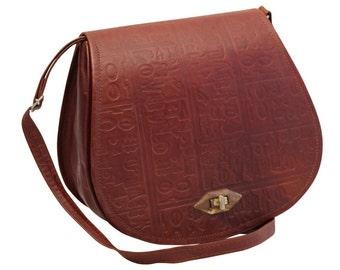 Vintage, Brown Tooled Leather Satchel, Cross Body Bag, Messenger