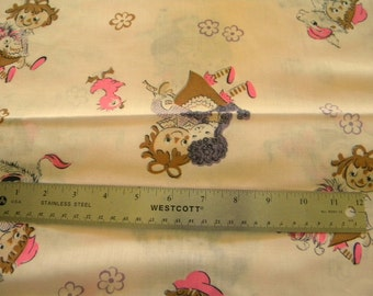 Kids and animals vintage fabric in pink and purple two pieces 2 yards long