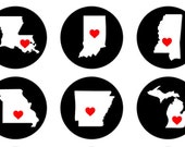 USA States Bottlecap Images / Heart Capital Cities / White State Silhouettes **BLACK background** / 1-Inch Circles / Printable Collage