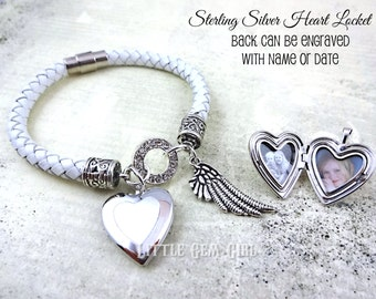 White Leather Bracelet w/ Sterling Silver Photo Charm - Braided Leather Heart Custom Photo Bracelet - 4 Colors 6mm - Engraved on Back