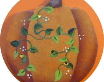 Thanksgiving Pumpkin Pin/Magnet Fall Hand Painted Autumn