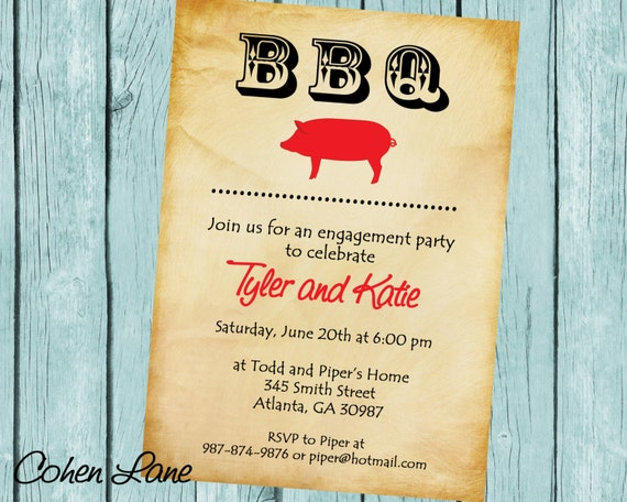 Printable BBQ Invitation BBQ Engagement Party Invite Bridal Shower