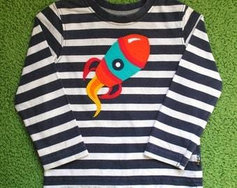 Toddler's Rocket applique striped shirt 12-18 months- hand sewn, unique design