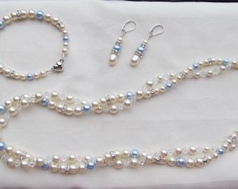 Wedding Jewelry Set Ivory with Light Blue Swarovski Crystals Pearls Bridal Jewelry Set