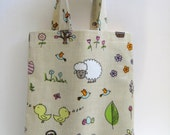 Small PVC Tote Bag - Easter Bunnies and Easter Eggs , Oilcloth Bag, Children's Shopping Bag