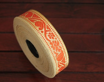 1 yard-Tangerine & Golden Jacquard Trims-Woven Ribbon-Decorative Art Quilts fabric trim-Designer Silk Saree Border Trim-Brocade Fabric Trim