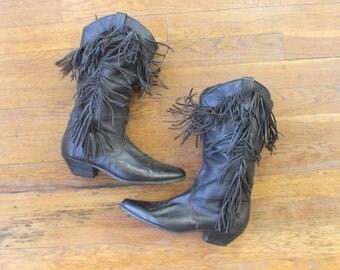 6 M Vintage Fringed Cowboy Boots / Black Leather Southwestern Shoes