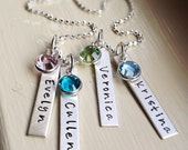 Personalized Name Necklace Mommy Grandma Jewelry Kids Custom Mothers Birthstone Necklace Choose Number of Tags Silver Gift for Mom