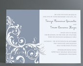 Vintage style floral Wedding Invitation suite, rsvp cards in any color. Unique wedding rsvp postcard, printable wedding invite download pdf