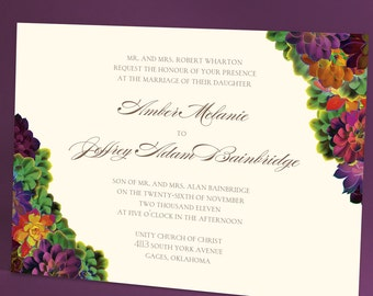 Succulents Wedding Invitations, Elegant Suite with Lush Script and Brightly Colored Succulents, Wedding Trend