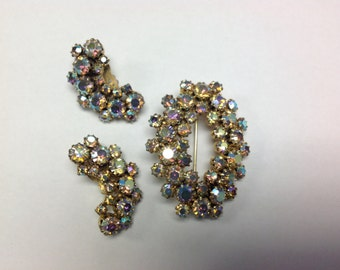 Lovely AB Vintage Aurora Borealis oval Brooch & Clip On Earrings Set Free Shipping