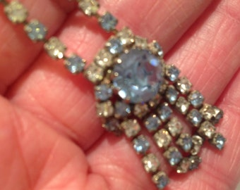 Vintage Blue and Clear Rhinestone Necklace Dangle