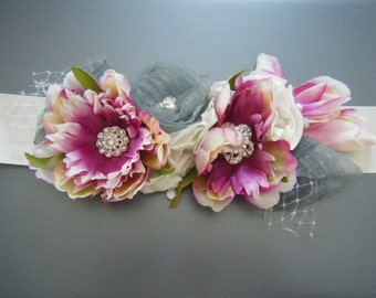 Hand crafted Flower Sash  - Ready to Ship -