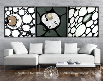 Large art modern wall. ALIVE trio with Swarovski®. Large art work. Extra large art. Large artwork. Large art abstract. Large art painting.