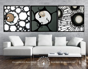 Abstract triptych canvas ALIVE. Triptyque. Triptych art with Swarovski® Triptych painting. Large abstract triptych wall art trio - Lydia Gee