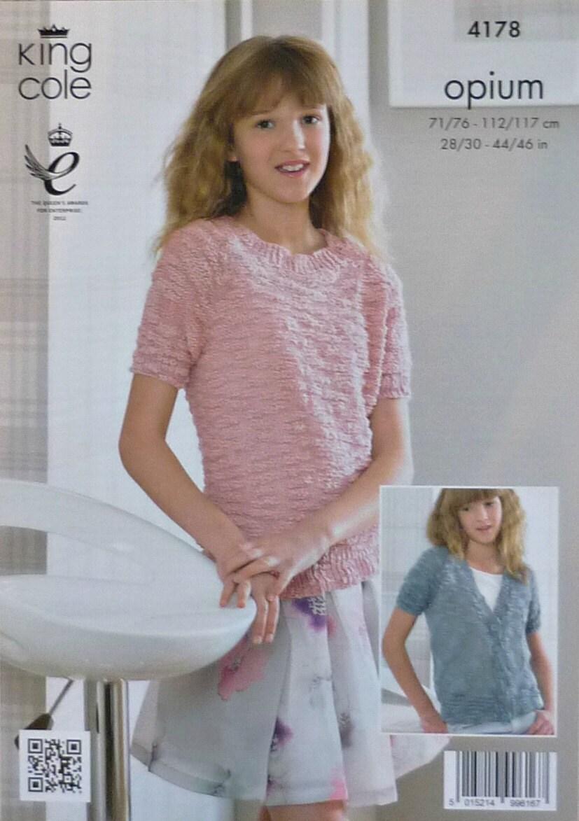 Knitting Pattern Round Neck Jumper : Girls Knitting Pattern K4178 Girls/Ladies Easy Knit Short Sleeve Round Neck J...