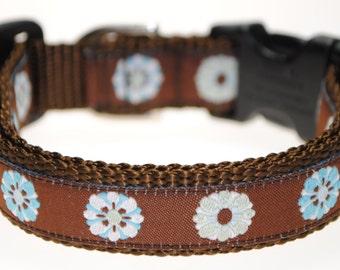 "Flowers - 3/4"" Adjustable Dog Collar"