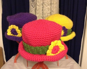 Top Hat, Crochet, Super Bulky, Zoomba, Snappy Pink, Passion Purple, Lightening Yellow, Floral Applique, Headband