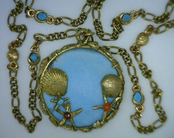 Sea Horses, Sea Shells, Star Fish 7 Karat Gold Chain 24 inches with Turquoise Medallion