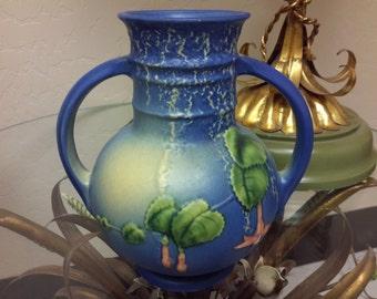 Roseville Pottery Blue Fuschia Vase 1939 Dual Handle Fuschia Flower Ware  Shape 891-6