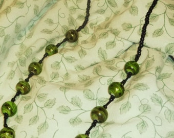 REDUCED  Lush Grass Green Beaded Necklace With Black Beads
