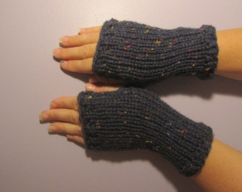 Fingerless Gloves - Navy Blue with Bright Color Flecks Hand Knit Fingerless Gloves