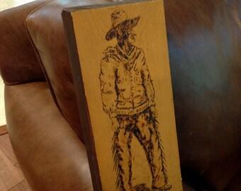 Carved etched burned wood unique cowboy folk art