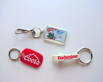 Vintage Beer Collectible Keychains 1980s 3pack