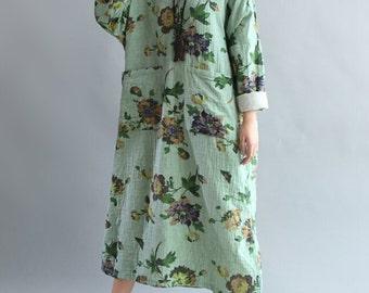 Women romantic Loose fitting Long dress fashion Women maxi dress in gray dress green dress