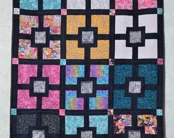 Quilt Throw Lap Quilt - Contemporary Black Hole In The Wall Quilted Throw