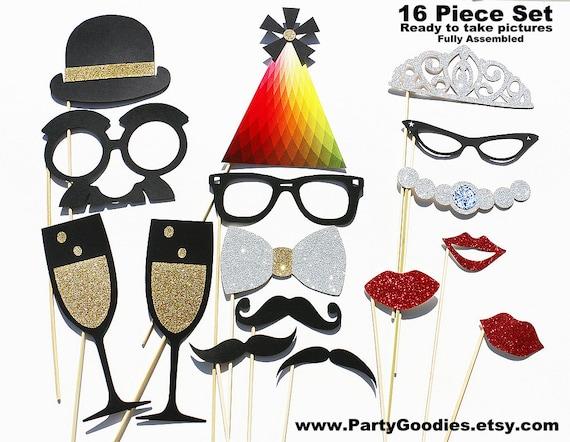 Best Wedding Photo Booth Prop - 16 Piece GLITTER Set - Mustache Photobooth GLITTER Party Props
