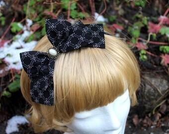 Black & White Diamond Pattern Hair Bow with Pearl Cabochon - Headband OR Alligator Clip - Handmade