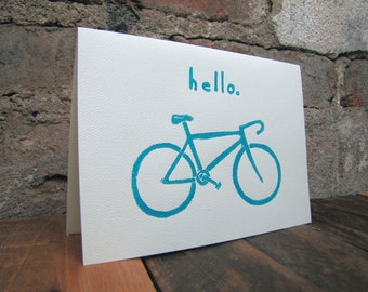 Bicycle Art Hello Greeting Card - Bicycle Thank You Blank Note Card - Original and Handmade