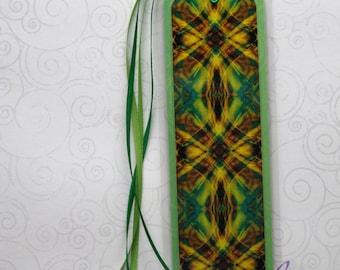 Handmade Laminated Durable Bookmark Green Psychedelic Tartan