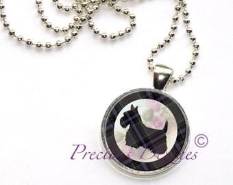 Tartan Scotty Dog Pendant Clan and Tartan jewelry Purple and Gray Plaid Tartan