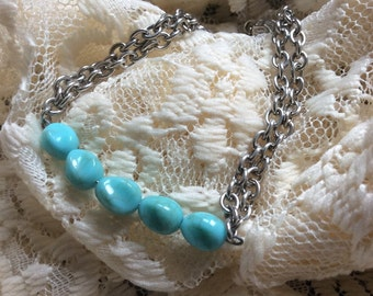 Turquiose Beaded & Silver Chained Bracelet