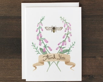 Thank You Card foxgloves and bee