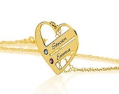 Love Pendant Gold Heart Necklace Mom Necklace with Birthstones - Birthstone Heart Necklace - Custom Made with Any Names
