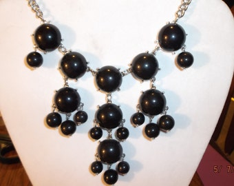 SALE Beautiful Bright Black and Silver Bubble Necklace Bohemian, Hippie High Fashion, Modern Light Weight Great Gift Ready to Ship