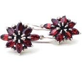Reserved for BJ Garnet Earrings, sterling silver, flower burst red wine  earrings, Large, marquise cut color semi precious gemstone vintage