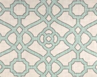 Two 20 x 20  Custom Designer Decorative Pillow Covers - Kaufmann - Trellis - Aqua/Grey