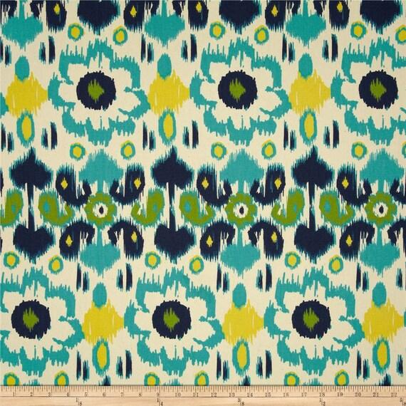 ... Custom Curtain Panels - Rio Ikat Large Flower - Turquoise/Black/Blue