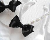 Black Sandals Bridesmaids favor, Bridal flip flops Black Tie Wedding Flip Flops honeymoon destination wedding party wedding cerimony