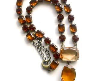 Vintage Lavaliere Pendant Necklace Retro Colorful Fashion Jewelry