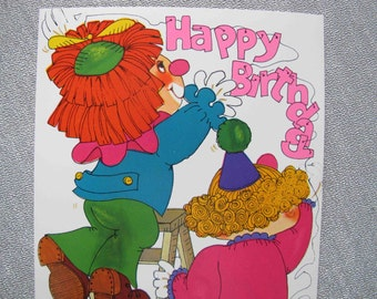 FREE SHIPPING Vintage clown birthday card / 1970's circus themed card