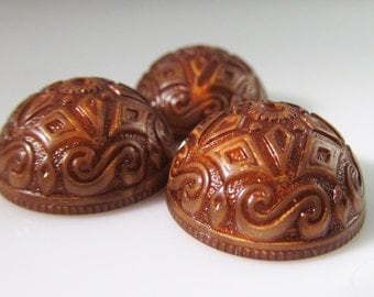 6 Vintage 20mm Ornate Boho Glowing Antiqued Brown Acrylic Cabochons Cb76
