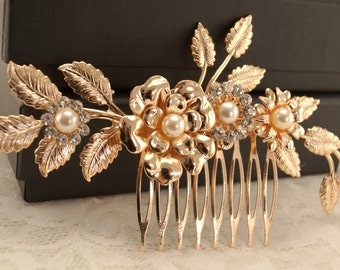 Rose gold Bridal hair comb-Vintage inspired art deco Swarovski crystla bridal hair comb-Vintage wedding-Gatsby hair comb-Bridal headpiece