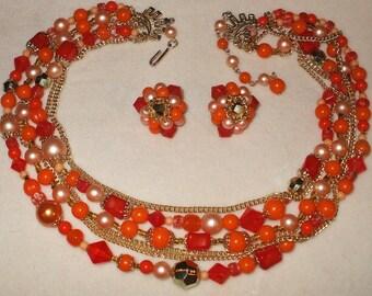 Vintage Necklace & Earring set signed Japan