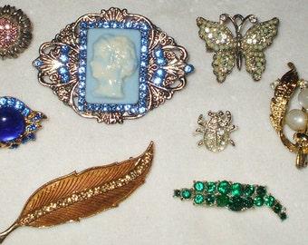 8 wearable Vintage Rhinestone Brooches